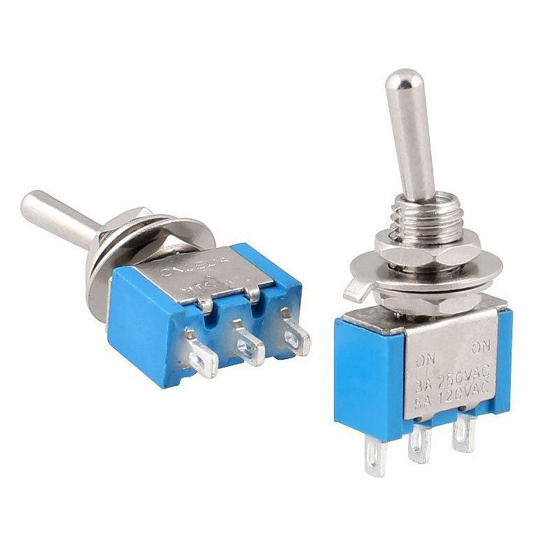 5Pcs ON-OFF 3 Pin 2 Position Mini Latching Toggle Switch AC 250V/3A 125V/6A SPDT Self Lock Toggle Switch --M25