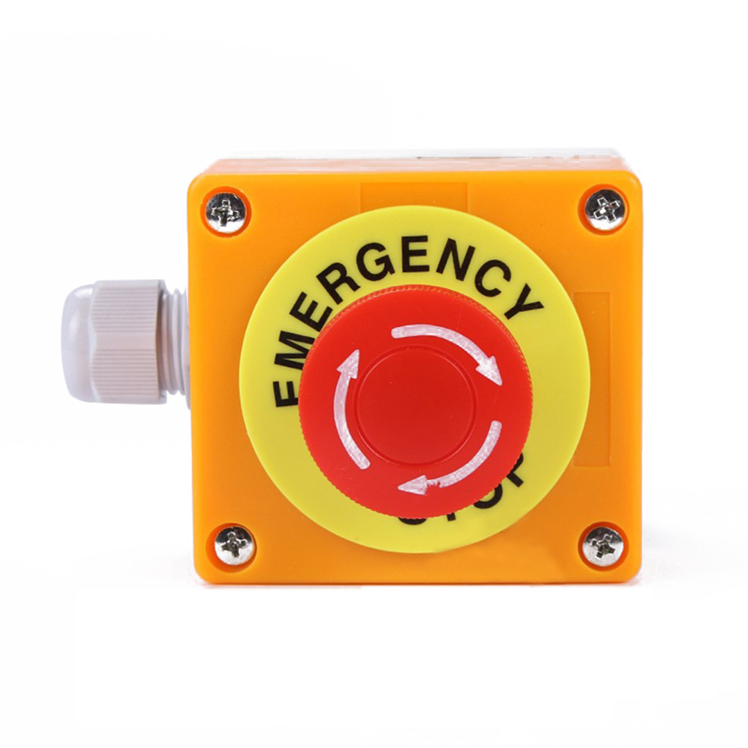 Red Sign Emergency Stop Push Button Mushroom Cap Waterproof Switches Large 10mm Latching Switch No