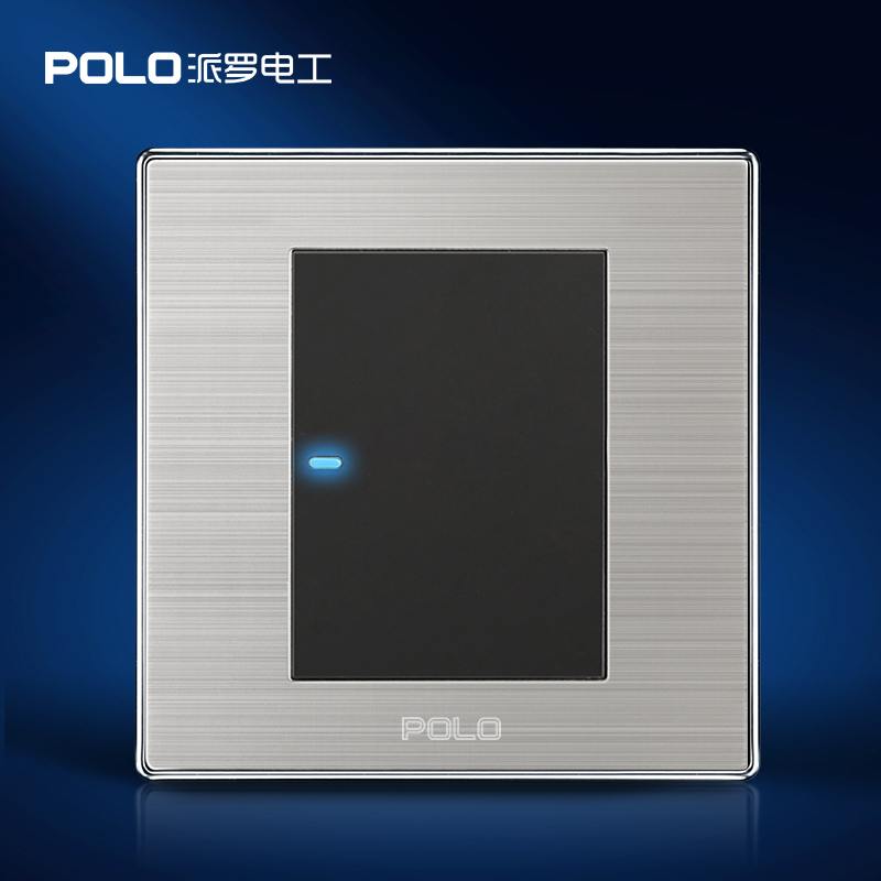 1 Gang 1 Way, POLO Push Button Switch, LED Indicator, Champagne/Black, Luxury Wall Light Switch Panel,16A, 110~250V,Random Click