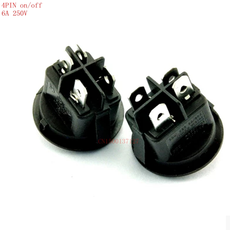 5pcs 4PIN ON/OFF black Rocker Switch 6A250V Small round switch push button best quality