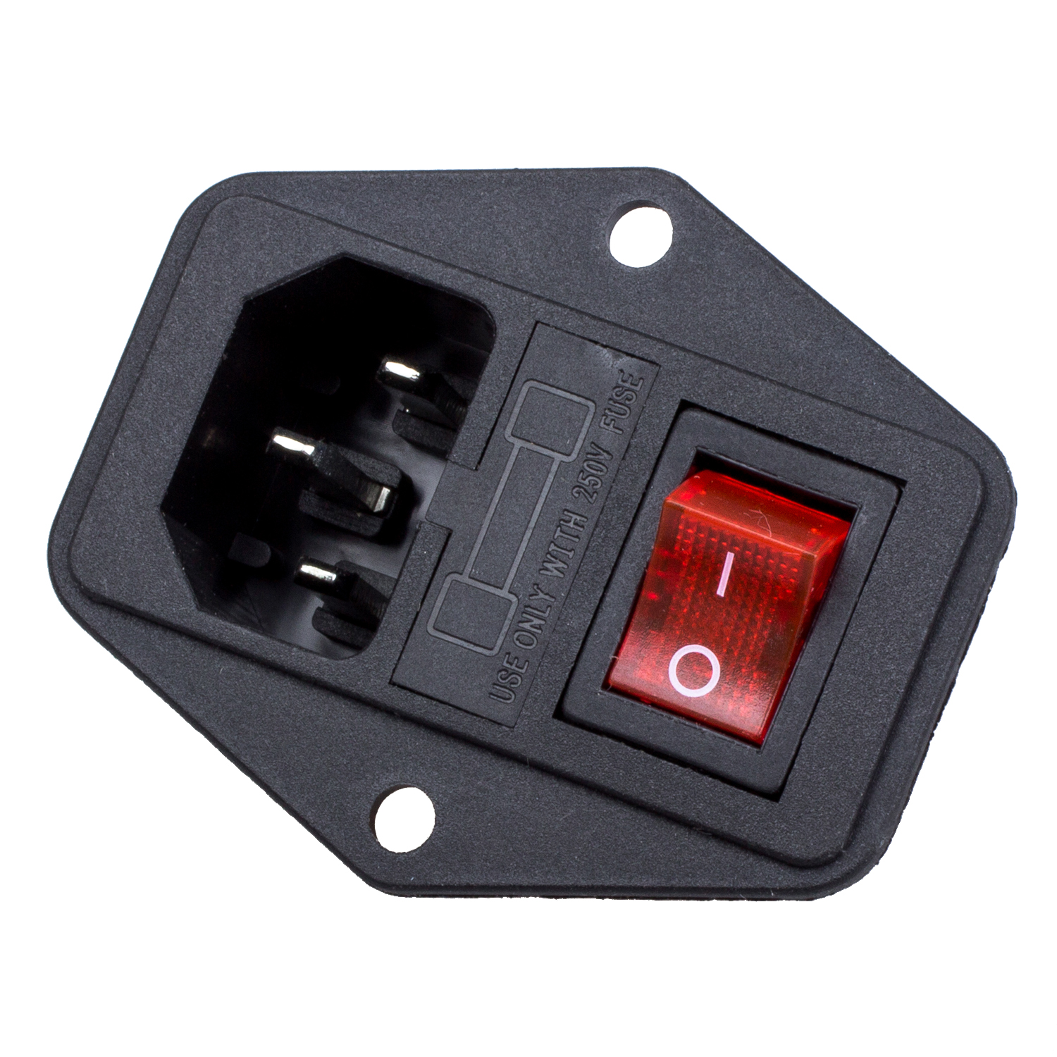 Hot sale 3 Pin IEC320 C14 Inlet Module Plug Fuse Switch Male Power Socket 10A 250V