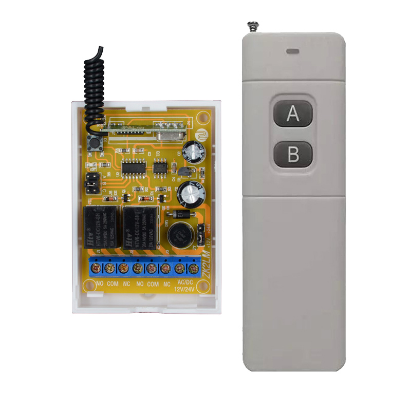 DC 12V 10A 2CH RF Wireless Remote Control Switch System 3000M Transmitter + DC 24V Receiver WithLearning Button 315Mhz 433MHZ