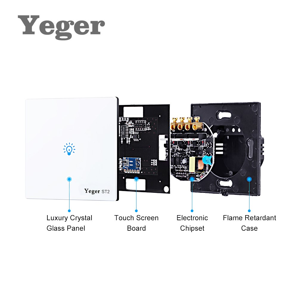 Yeger EU / UK Standard Unique Firewire touch sensing wall switch, Touch Switch 2 Gang 1 Way Switch Crystal Glass Panel,