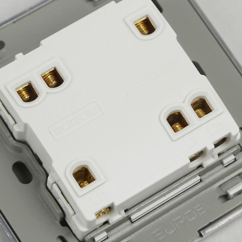 E9 Series Brushed Stainless Steel Gold Wall Switch With fluorescence 2 Gang Double Control Switch Socket Panel