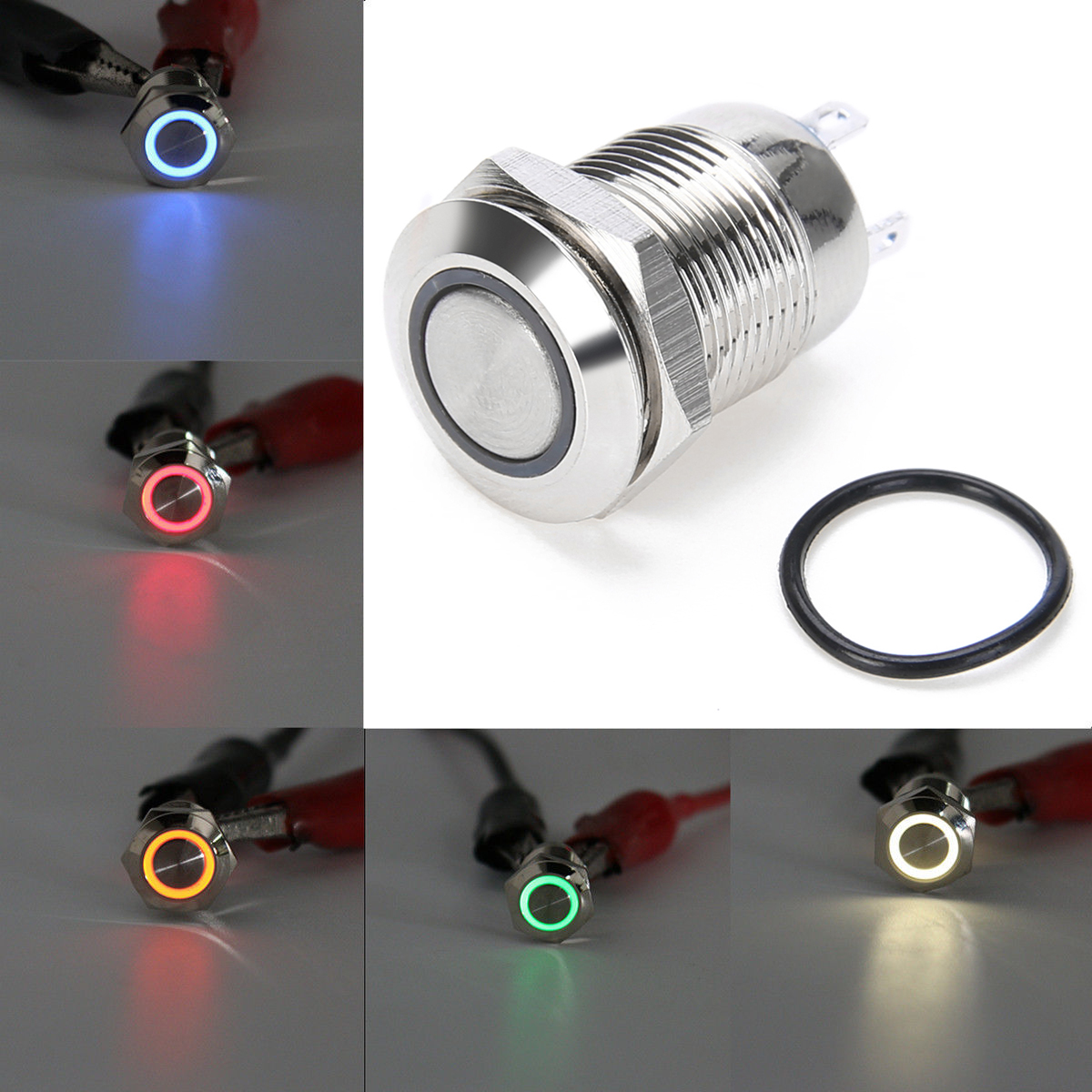 Waterproof Silver 4 Pin Metal Push Button Switch 2A 36V Mayitr White Led Light Momentary Switches 12mm Hole for Outdoors Use