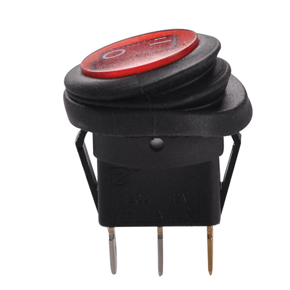 1 PC  Red LED Round 12V 3pin On/Off Rocker Switch Waterproof Auto Boat SPST Marine SPST sa178 P0.3