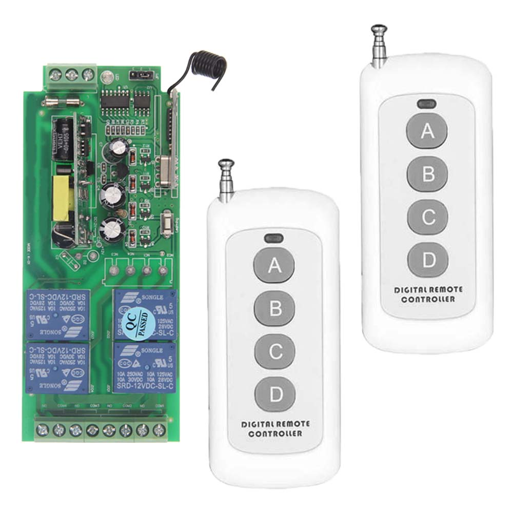 0-500m AC 85V-265V 110V 220V 230V 4 Channel 4CH RF Wireless Remote Control Switch System Receiver + 2pcs Transmitter, 315 433.92