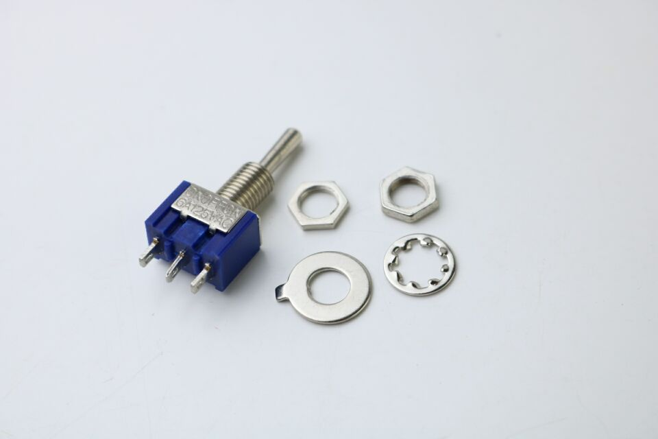 10Pcs ON-OFF-ON 3 Pin 3 Position Mini Latching Toggle Switch AC 125V/6A 250V/3A MTS-103 BULE S