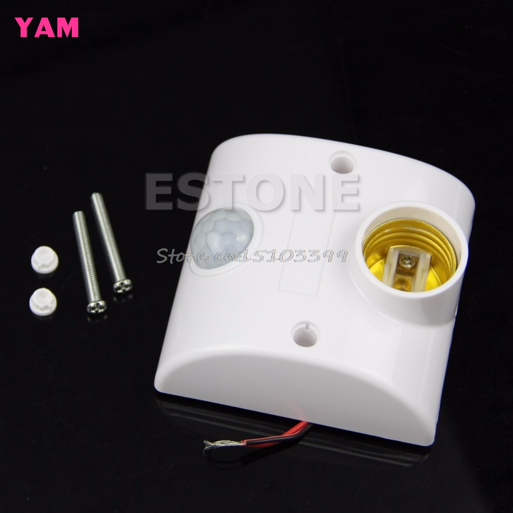 E27 220V Infrared Motion Sensor Automatic Light Lamp Holder Switch