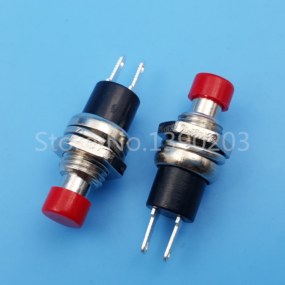 50Pcs Red Cap 7mm Mini Lockless Momentary ON/OFF 2 Pin Push Button Switch