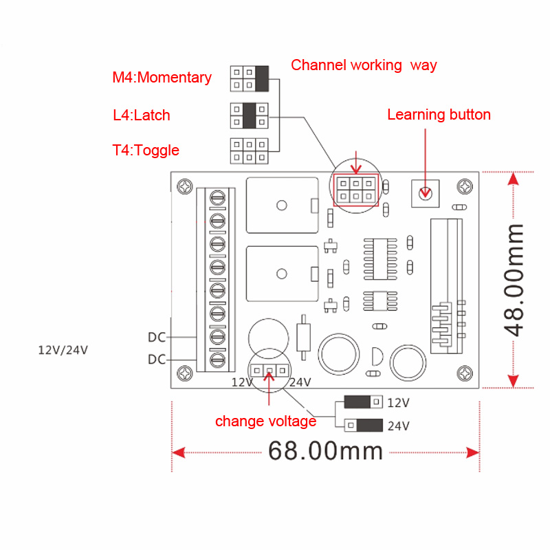 DC 12V 24V Wireless  Remote Control Switch Motor Reversing Controller Switch Output Intelligent With 3 Button Transmitter