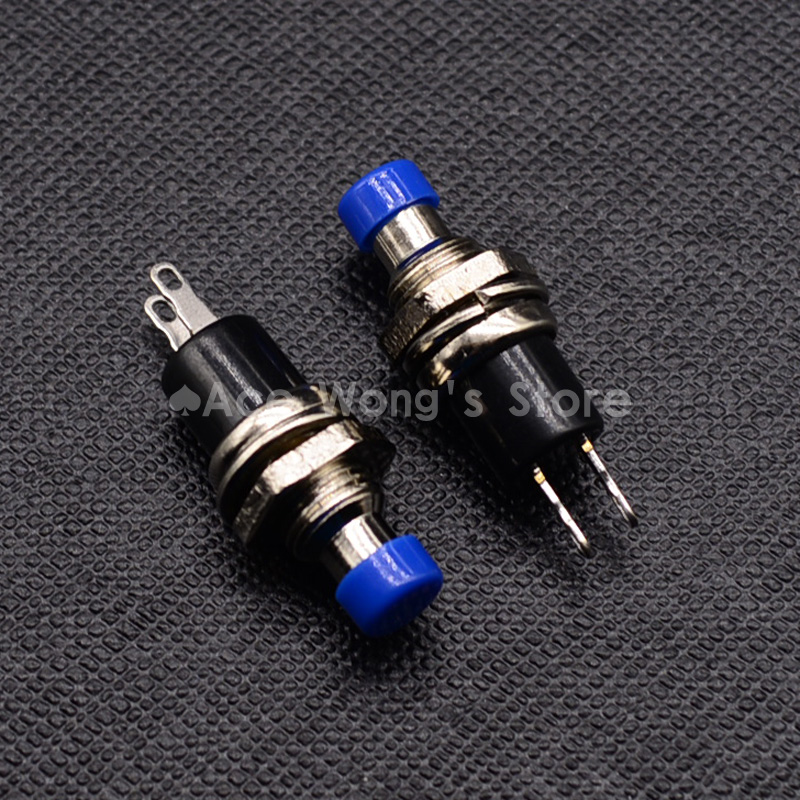 7mm Thread Multicolor 2 Pins Momentary Push Button Switch PBS-110 (Yellow black blue white red green)