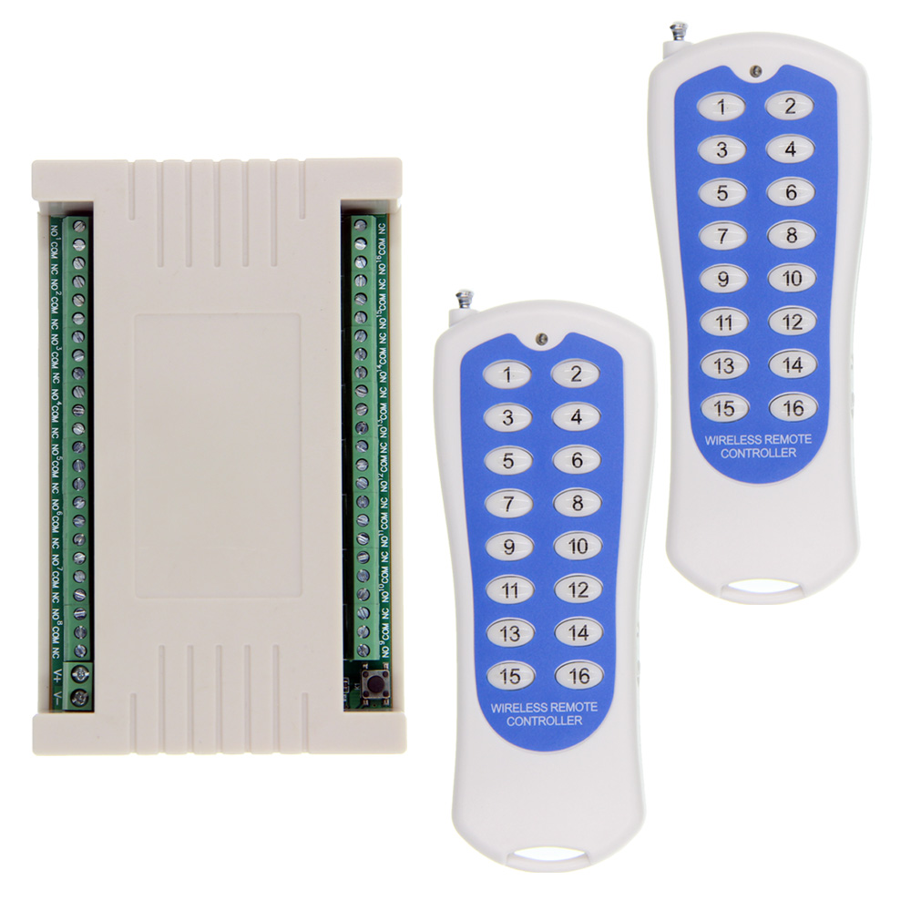 2018 NEW DC 12V 24V 16 CH Channels 16CH RF Wireless Remote Control Switch System, (2 Transmitter +1 Receiver),315/433.92 MHZ