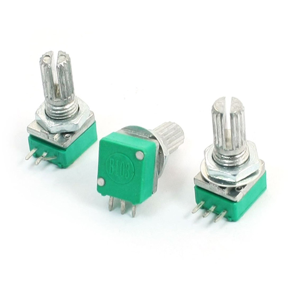 DHDL-3pcs 6mm Knurled Shaft Single Linear B 10K ohm Rotary Potentiometer