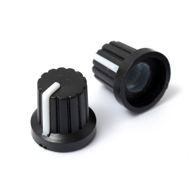 10pcs 6mm Shaft Hole Plastic Volume Control Potentiometer Knob Cap Black Ribbed Threaded Knurled