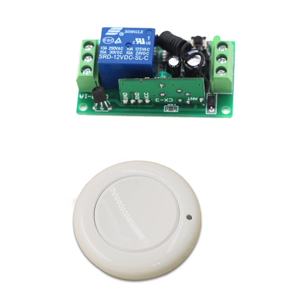 New 24V 12V 9V 1CH Relay RF Wireless Remote Control Switch White Round Transmitter and Receiver 315mhz or 433mhz Hot Sale