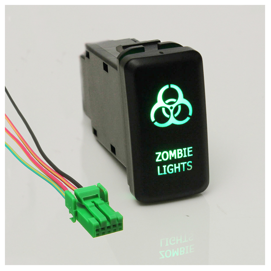 12V LED Fog Work Light Push Button Switch For Toyota Landcruiser Prado FJ Zombie Light green