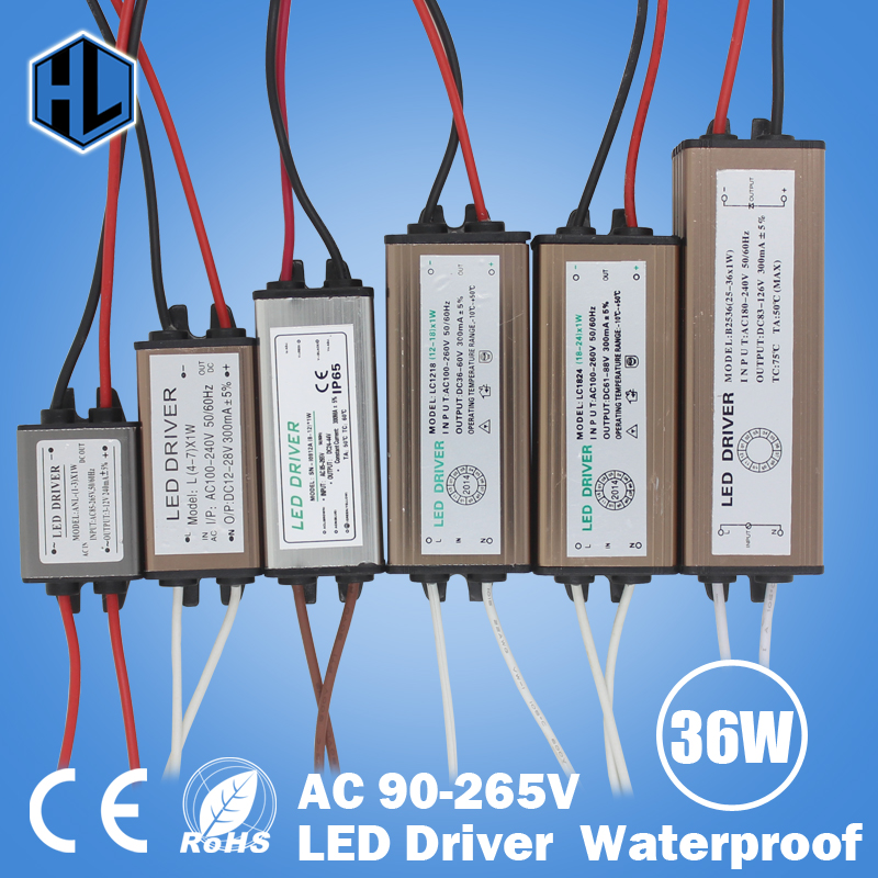 Waterproof 1W-36W LED Driver LED Transformer AC90-265V DC3-136V Constant Current 300mA Power Supply Adapter for Led Strip Lamp