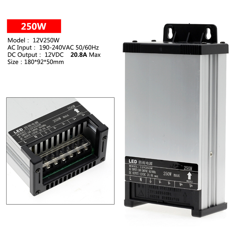 LED Outdoor Rainproof Power Supply DC12V 60W 100W 200W 250W 400W LED Driver Lighting Transformers