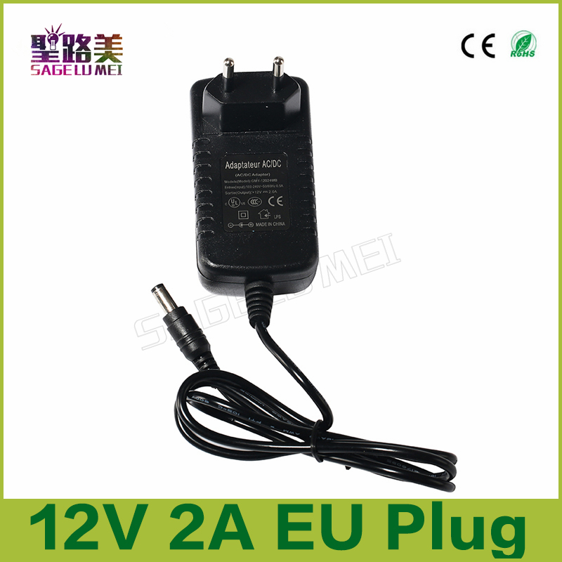 2017 wholesale 1 pcs AC100-240V Converter Adapter to DC 12V 2A 24w CCTV led Power Supply Transformer EU Plug for led strip