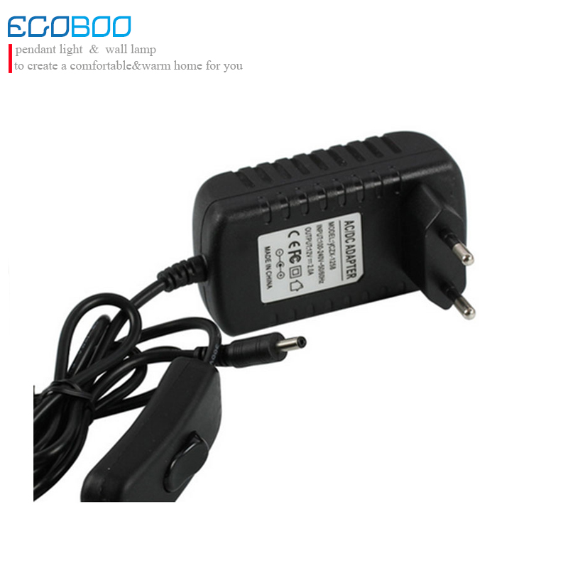24W Black LED Driver 12v With Rocker Switch as LED Strip Light Power Supply European Plug 3.5DC plug output