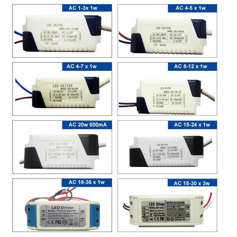 High Power 3w 4w 5w 7w 10w 20w 30w 40w 50w 60w 70w 80w 90w Input AC 85-265V LED Driver Adapter For LED Ceiling Lamp Light