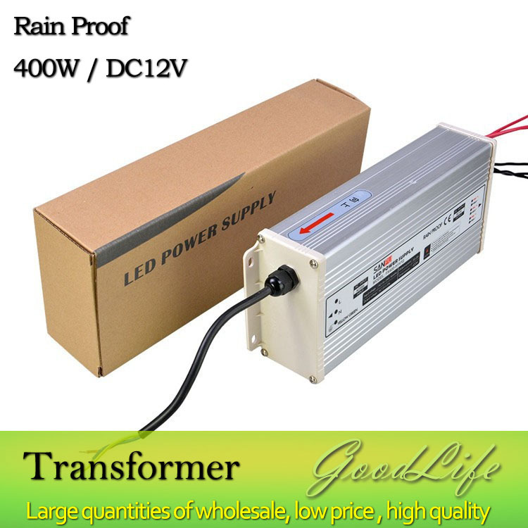 DC 12V 400W Rain Proof  LED Power supply,Power adapter, outdoor use,Lighting Transformer