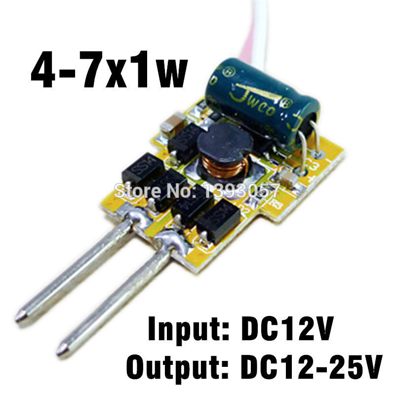 10pcs/lot 4-7x1w 300mA MR16 LED driver, Input dc12v, Output dc12v-25v for 4w 5w 6w 7w Spotlights Free ship