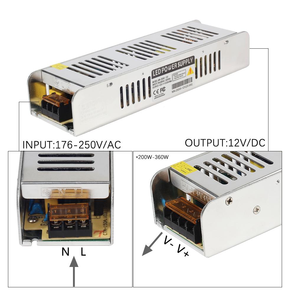 12V Lighting Transformer 5A-30A Switching Power Supply 60W