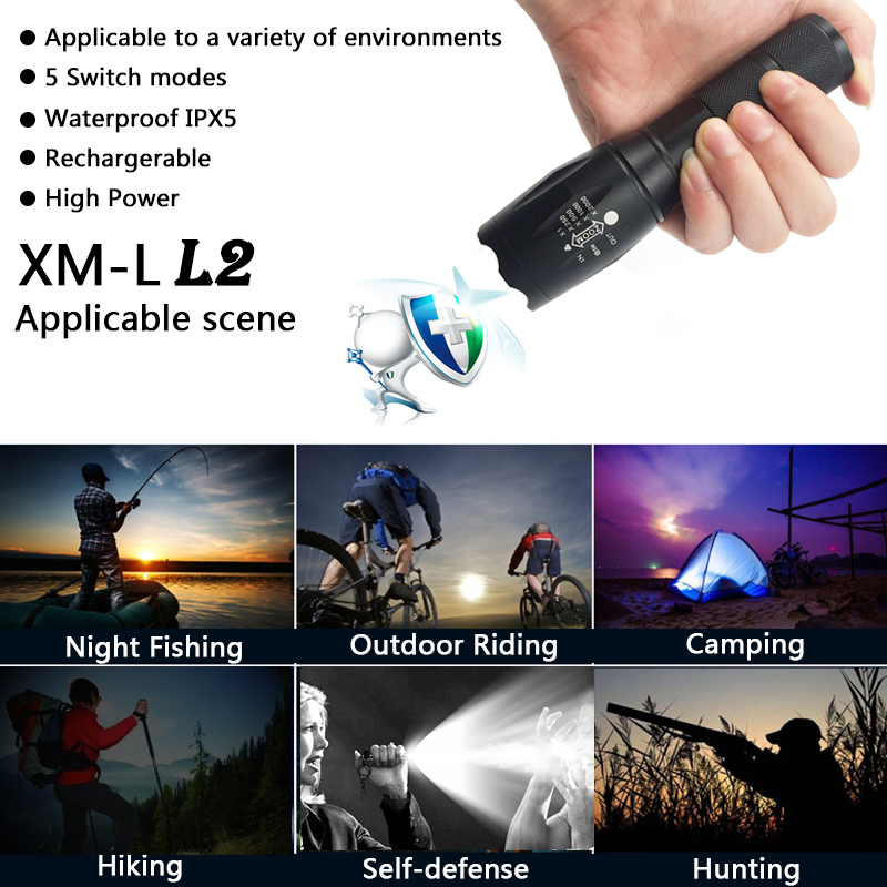Litwod Z30 Light&lighting Led Flashlight tactical zoomable torch self defense CREE XM-L T6 long standby portable hunting light