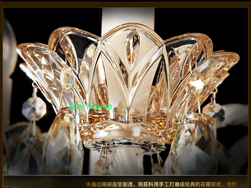 Antique candle chandeliers champagne crystal chandelier modern lights hot sale dining room Led chandeliers bathroom lamp