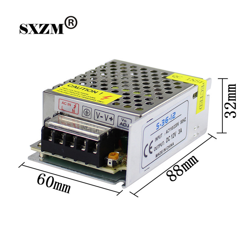 SXZM 36W power supply  DC12V 3A small led transformer AC110V/220V to DC12V 3A for 3528/5050 led strip RoHS CE