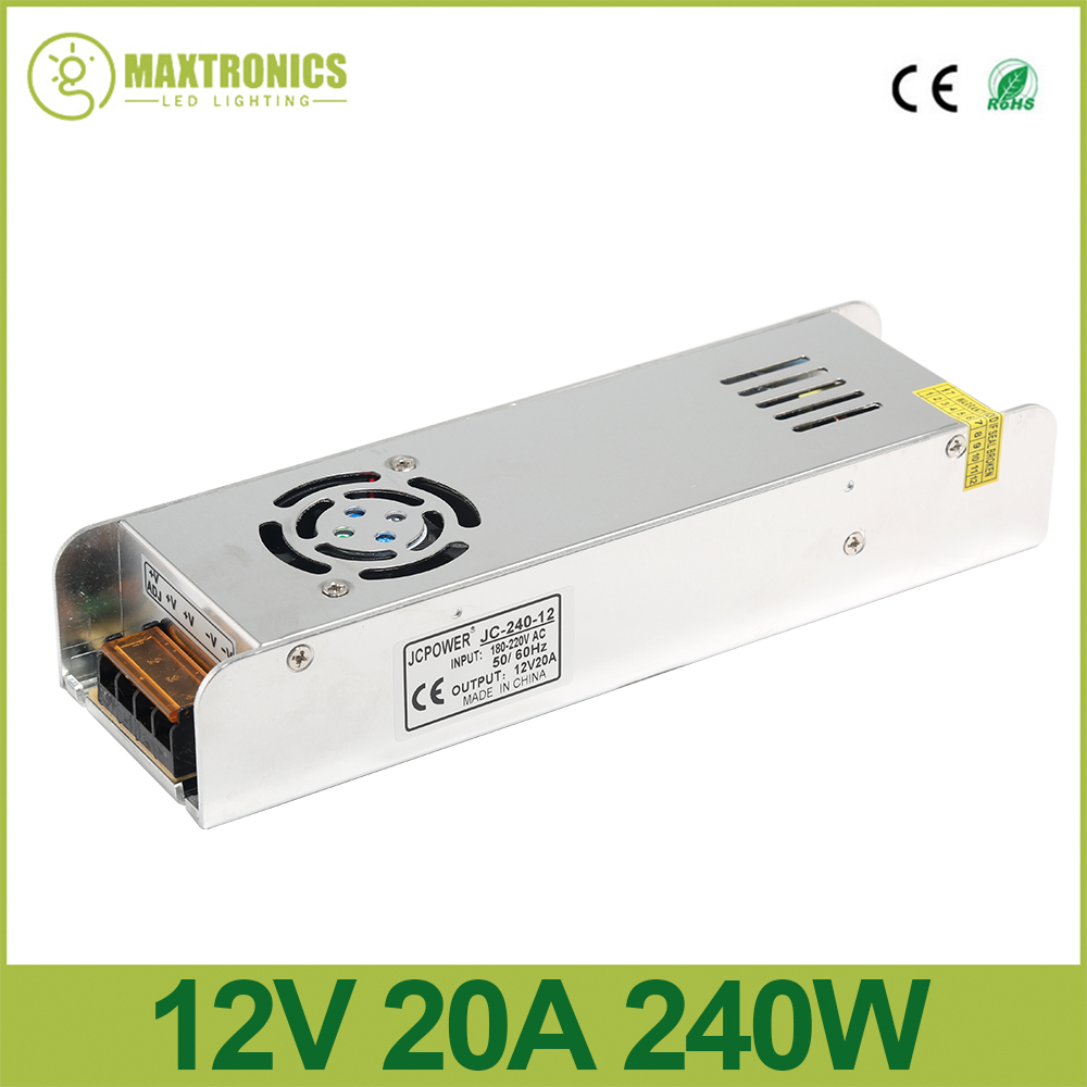 12V 20A 240W Slim Power Supply power source AC to DC Adapter Switch Driver for auto LED Strip Light module 180V-220V