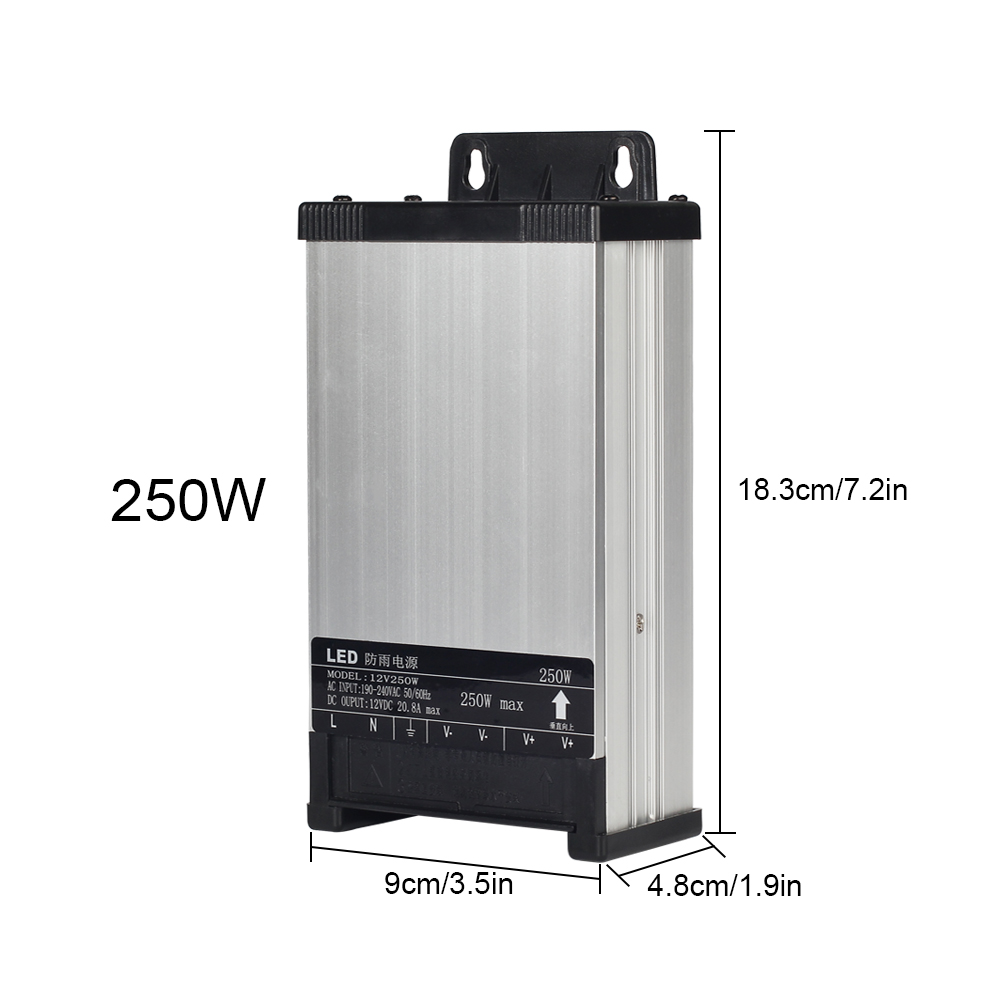 AC220V Rainproof LED Power Supply DC12V 60W 100W 200W 250W 400W LED Driver Power Adapter For LED Strip Lights