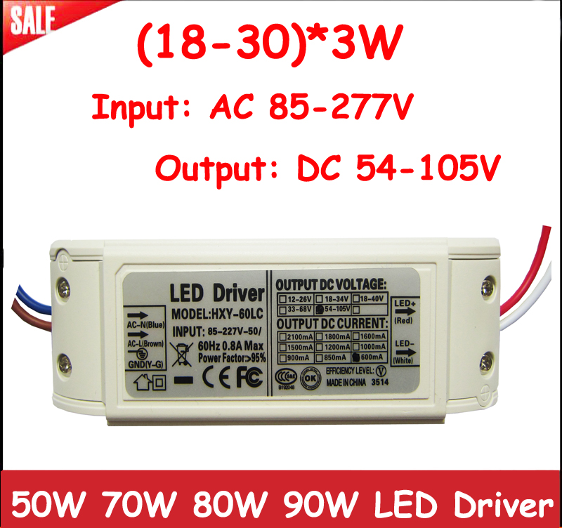 1pcs High Power 50W 60W 70W 80W LED Driver (18-30)x3W 600mA DC54-105V LED Power Supply Lighting transformers For LED Lamp Strip