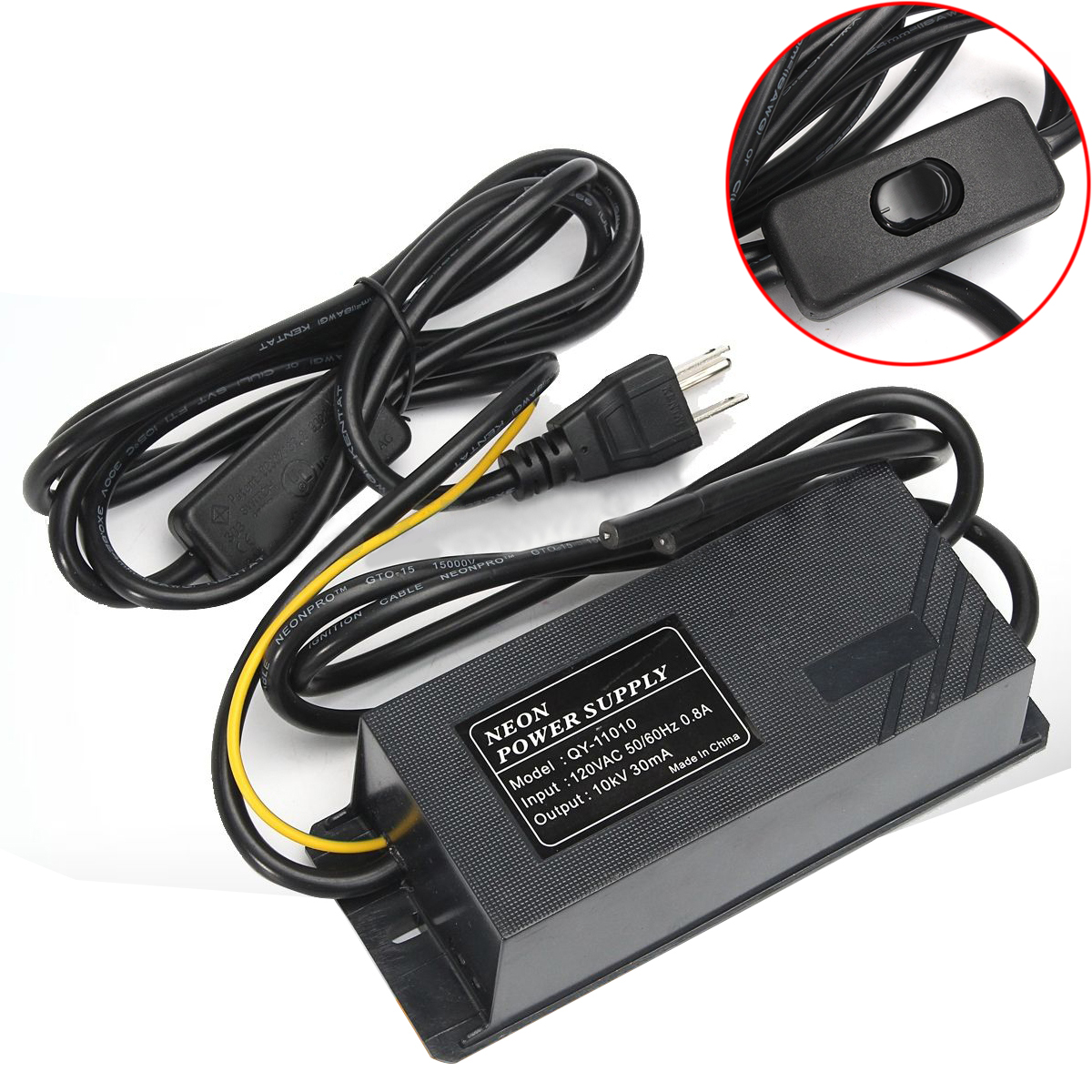 10KV 30mA 120V Black Neon Electronic Transformer Mayitr Practical Waterproof Neon Power Supply Light Rectifier Kit 164*61*48mm