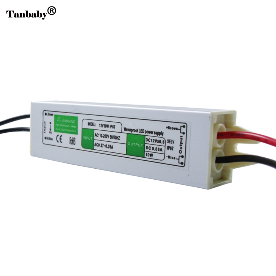 Tanbaby DC12V 10W IP67Waterproof LED Driver Power Supply Aluminum Alloy Transformer AC110-260  to 12 Volt DC Output