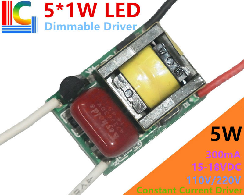 5W Dimable LED Driver Adapter 300mA 5*1W Lamp Driver Power Supply 110V 220V Lighting Transformers for LED Bulb Spotlight etc