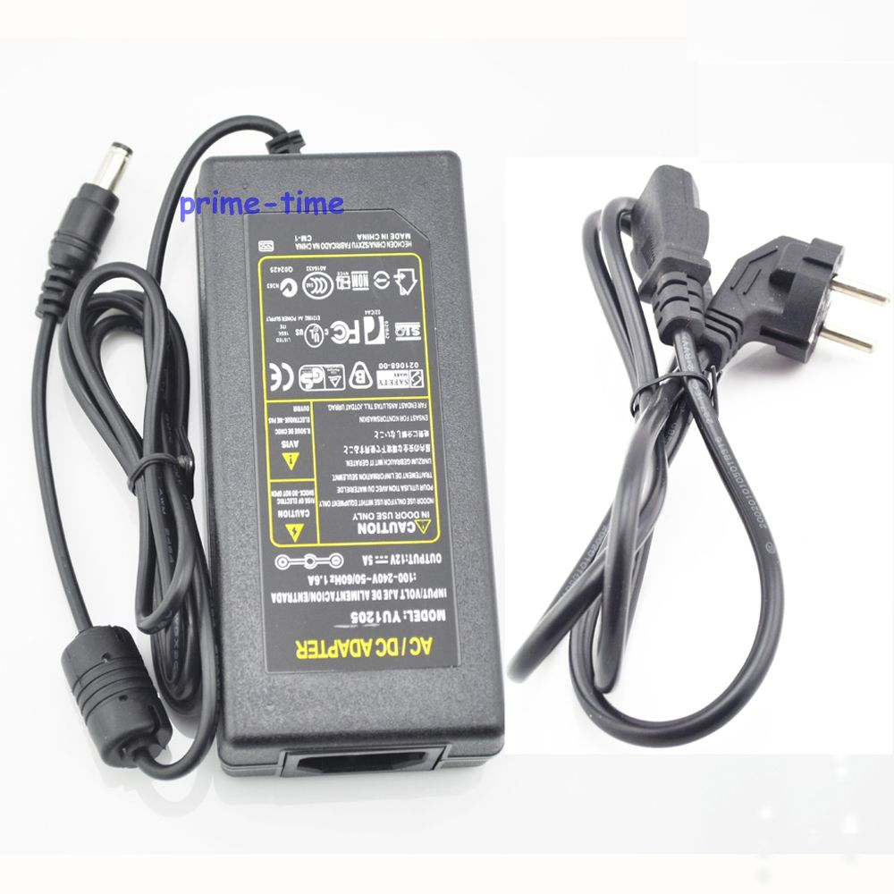 AC / DC Adapter Converter DC 12V 5A 60W Power Supply Charger With EU/US/AU/UK Plug Cable For LED Light or LCD Monitor CCTV