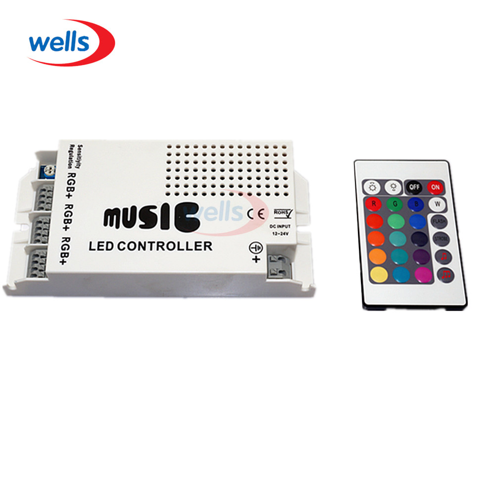 DC12-24V Music Sound LED Controller with 3 Channels 9A 24key IR Remote Control for 5050 3528 5630 RGB LED Strip Light