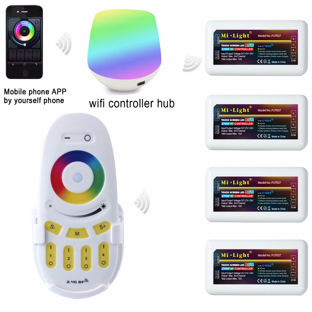 Mi light  2.4G 4 Zone WIFI LED controller IBox+ RF touch remote+RGB Controller Dimmer for RGB LED Strip Light DC12V-24V