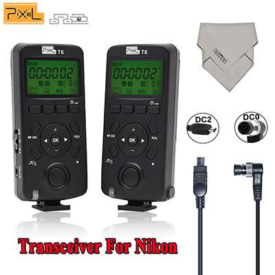 2Pcs Pixel T6 Wireless Transceiver LCD Timer Shutter Release