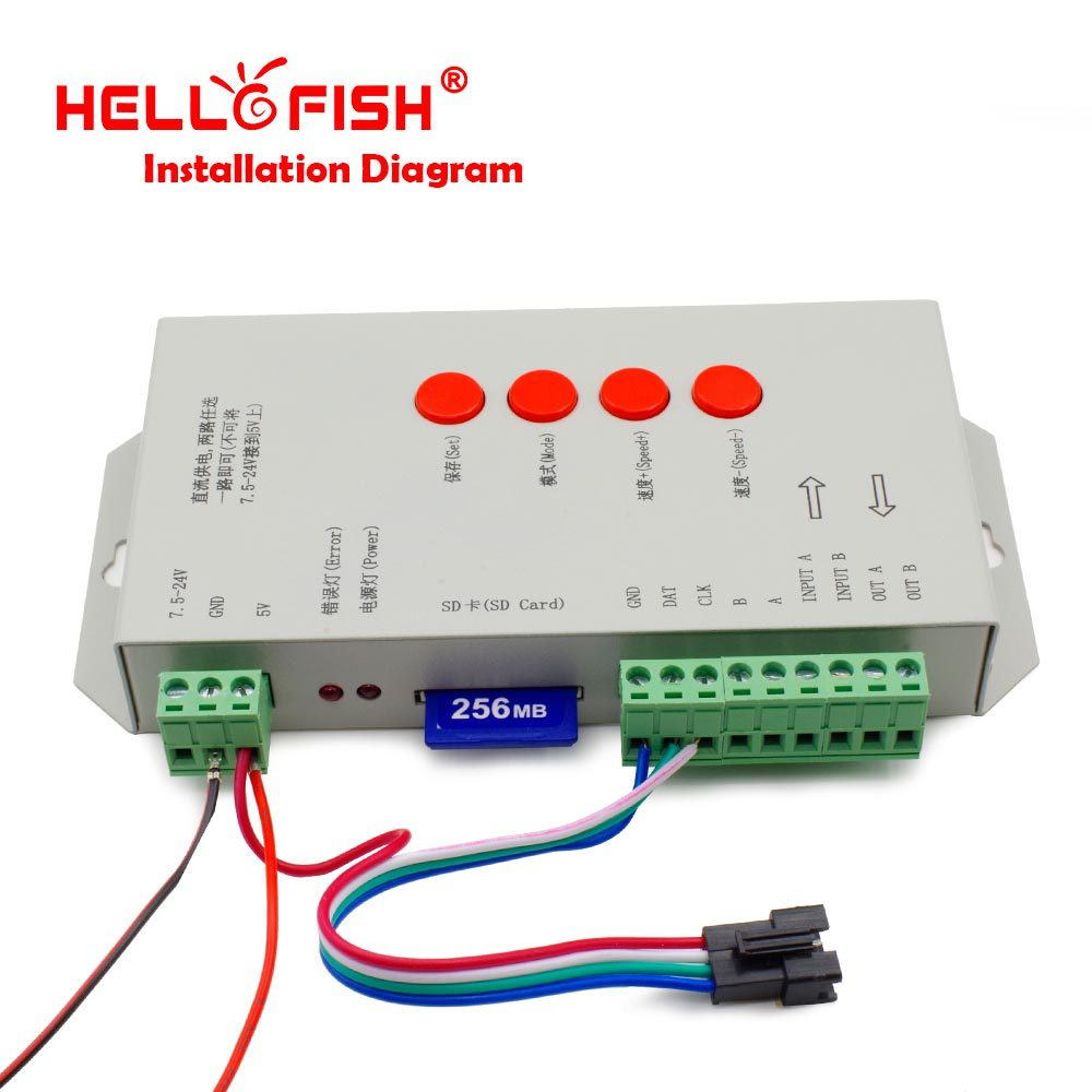 Hello Fish High Quality T-1000S 128M SD Card LED Pixel Controller, Full Color Controller for IC LPD6803/WS2801/WS2811/WS2812B
