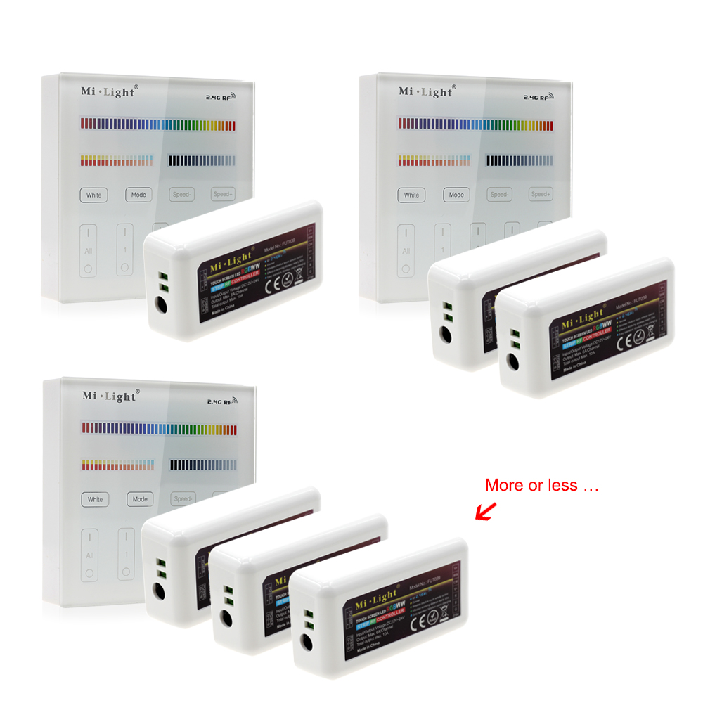 Mi Light Full Color LED Controller RF 2.4G / Wifi Remote Control DC12-24V for RGB+CW+WW LED Strip.
