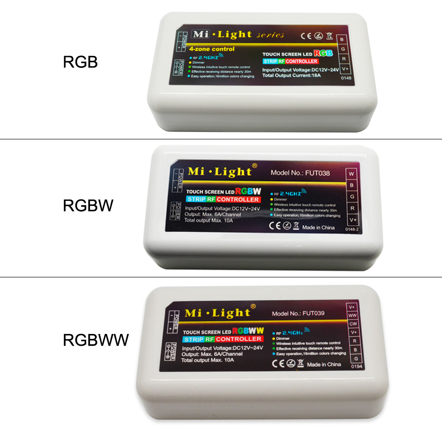 1Pcs RGB/RGBW/RGBWW LED Controller Mi Light 2.4G 4-zones DC12V 24V Wireless Controller for RGB led strip light