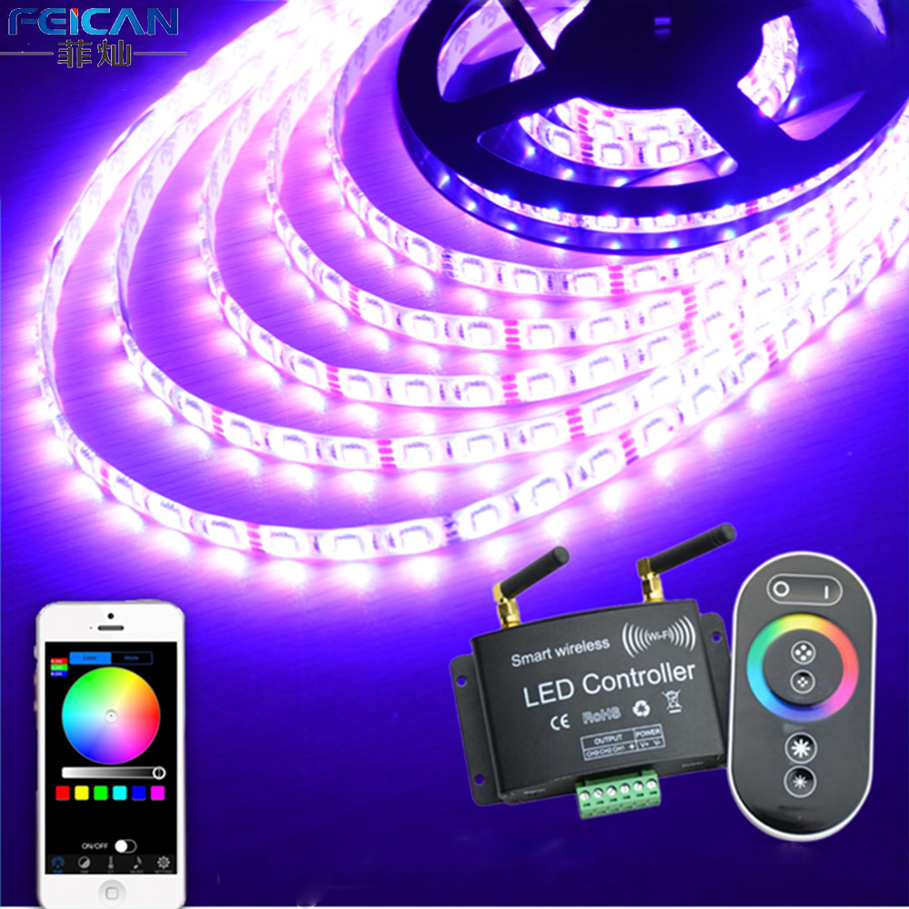 DC12-24V RGB Wifi LED Controller RF Touch Remote Control Controller By Android/IOS APP For SMD5050 3528  RGB LED Strip