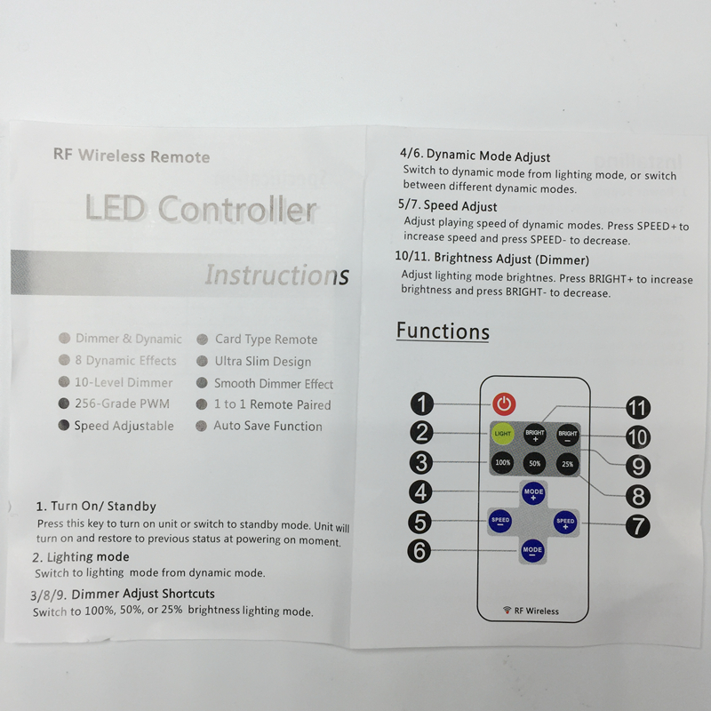 Wholesale Mini RF Wireless Led Remote Controller Led Dimmer For Single Color LED Strip Light 5630 5050 3528 7020