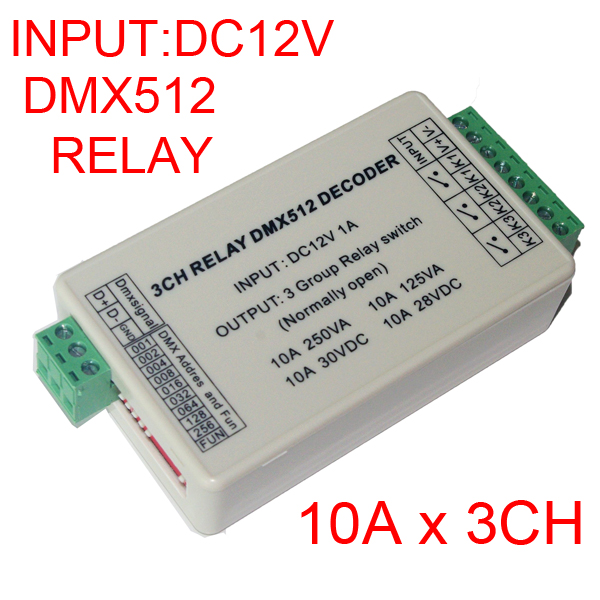 wholesale 1pcs DC12V 3CH Relays DMX512 3P led Decoder dimmer,10A*3 channel RGB led controller for led lamp led strip lights