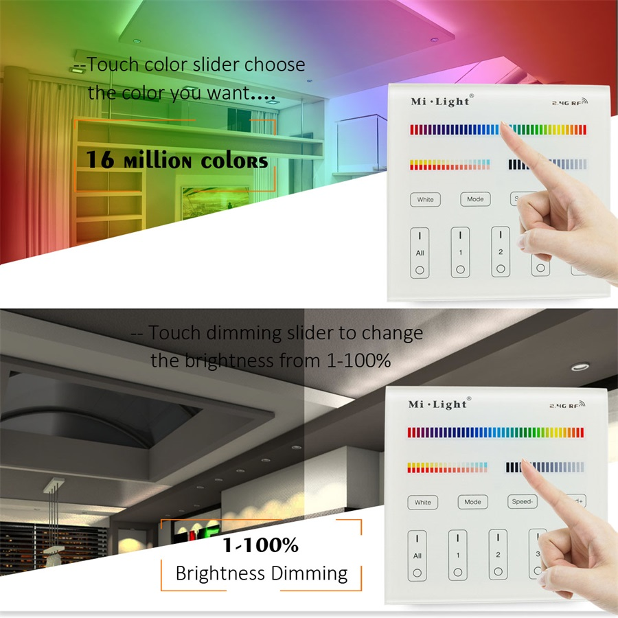 Milight Battery Touch Panel Wall-mounted Controller 2.4G Wireless RF Dimmer RGB/RGBW Remote LED Controller For LED Strip Bulb