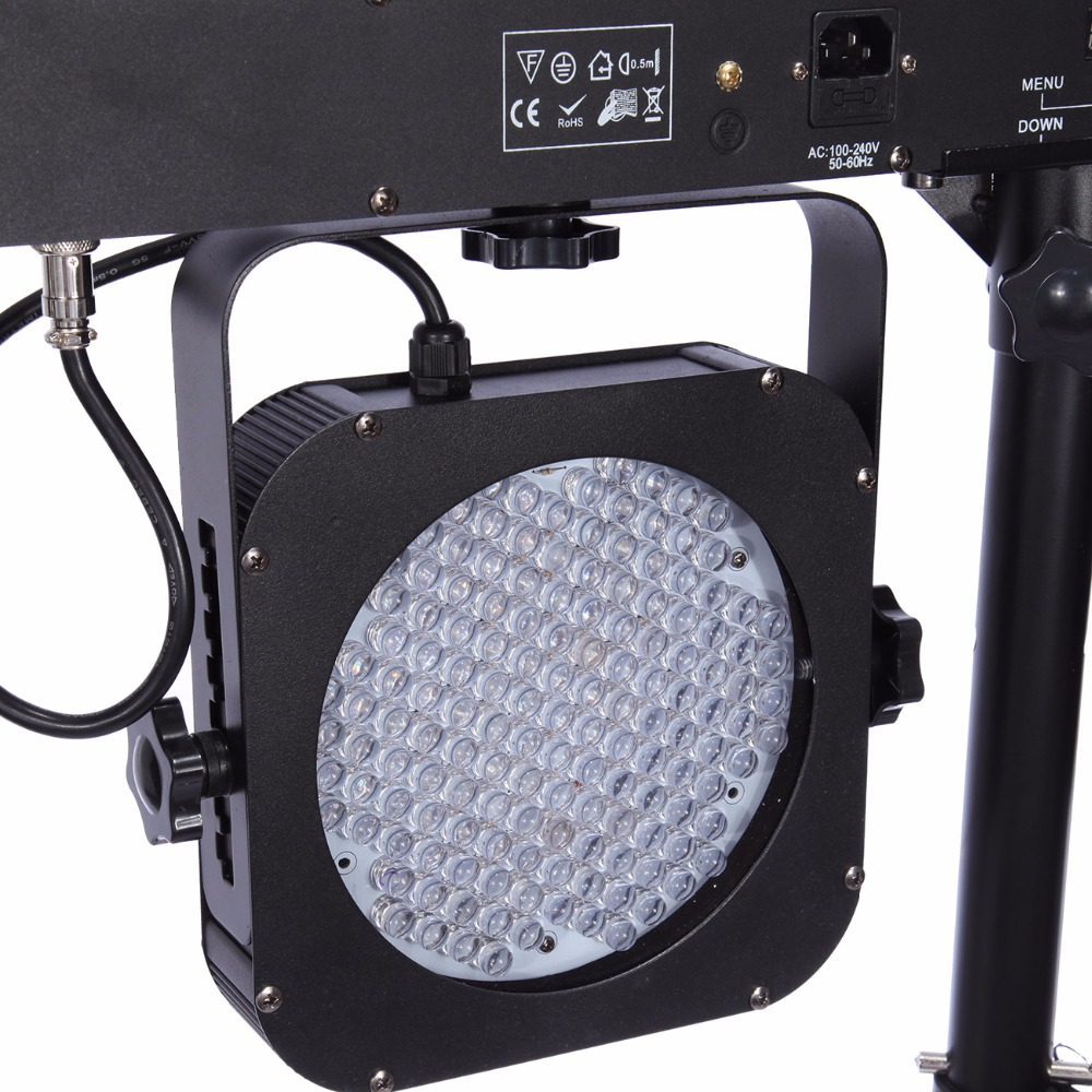 (Ship from USA ) 4 BAR DMX LED WASH RGB PAR 64 STAGE LIGHT KIT SYSTEM LIGHTING + Foot Controller